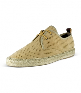 Leather espadrilles with jute sole and laces for men in green color