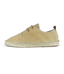 Leather espadrilles with esparto sole and laces for men in sand tone