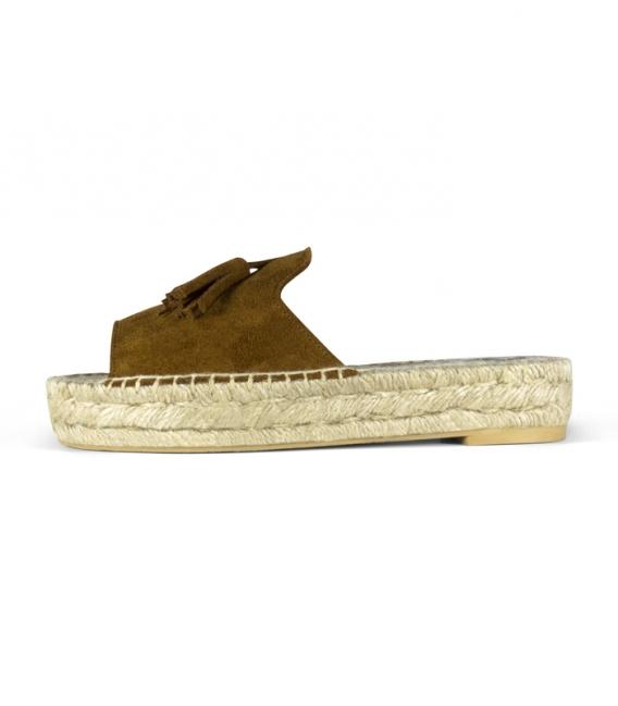 Alpargatas serraje tipo pala con suela de plataforma doble de esparto para mujer en color marrón