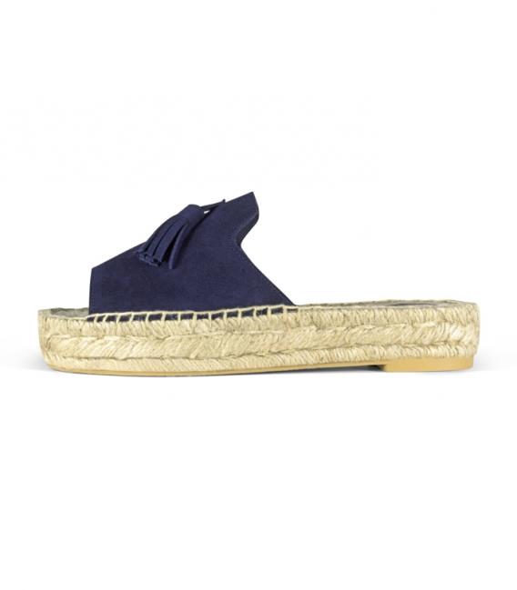 Alpargatas de serraje tipo pala con suela de plataforma doble de esparto para mujer en color azul de adorno