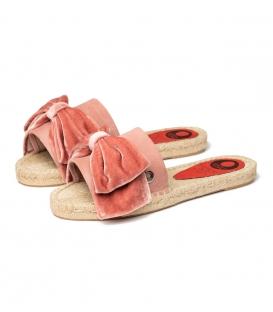 Alpargatas con lazo tipo pala con suela de esparto para mujer en color rosa maquillaje