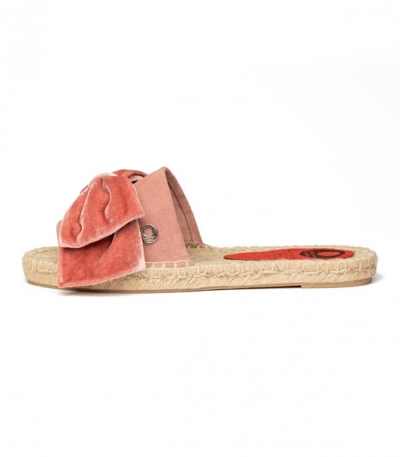 Alpargatas con lazo tipo pala con suela de yute para mujer en color rosa maquillaje