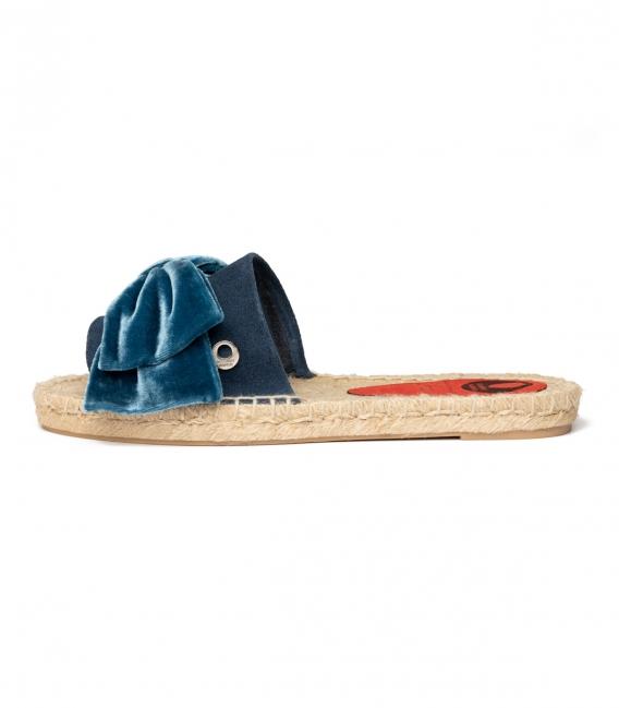 Alpargatas con lazo tipo pala con suela de esparto para mujer en color azul