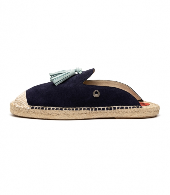 Espadrilles slippers with flat jute sole for women in dark navy blue