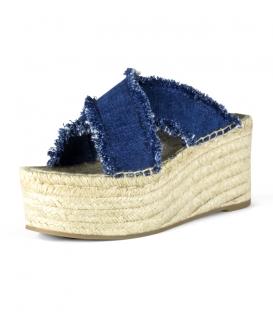 Sandalias jeans con plataforma de esparto para mujer en color azul