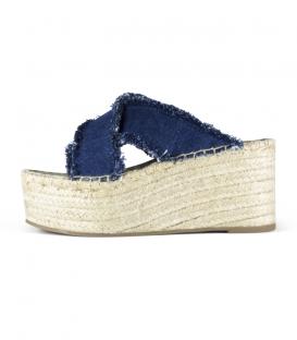 Sandalias cruzadas jeans con plataforma de esparto para mujer en color azul