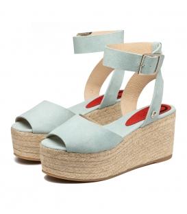 Sandalias de serraje azul con plataforma de esparto para mujer online