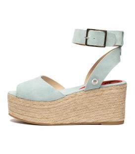 Alpargatas sandalias de serraje con plataforma de esparto para mujer en color azul