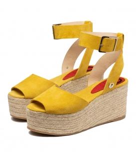 Sandalias de serraje naranja con plataforma de esparto para mujer online