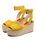 Heels espadrilles sandals for women MILOS MUSTARD