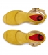 Eedge heel jeans sandals with leather buckle in red and brown for women
