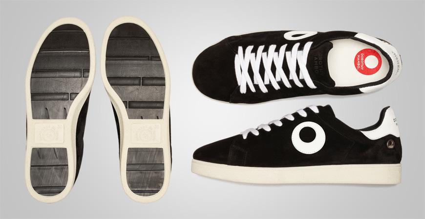Zapatillas deportivos sneakers de piel serraje color negro