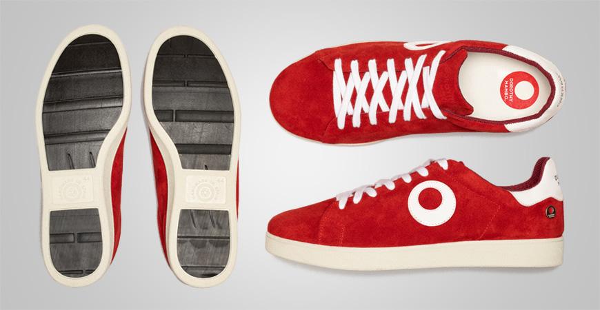 Zapatillas deportivos sneakers de piel serraje en color rojo