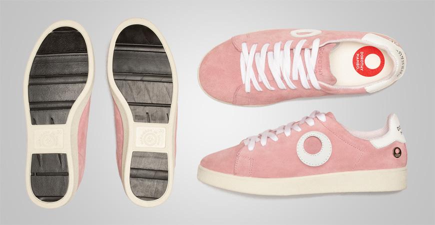 Zapatillas deportivos sneakers de piel serraje en color rosa