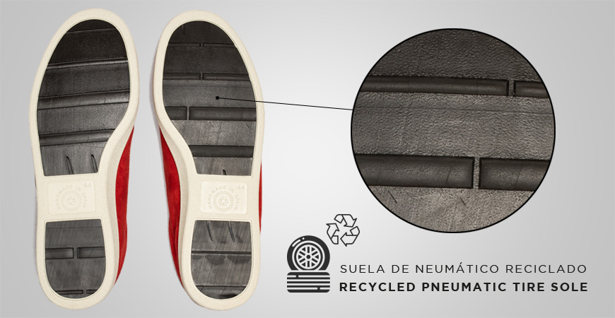 Zapatillas deportivos sneakers con suela de neumático reclidado de piel serraje